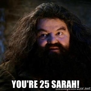 Yer A Wizard Harry Hagrid - You're 25 Sarah!