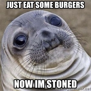 Awkward Seal - just eat some burgers now im stoned