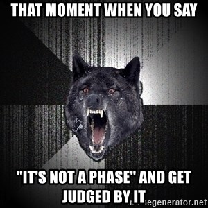 """Insanity Wolf - that moment when you say """"it's not a phase"""" and get judged by it"""