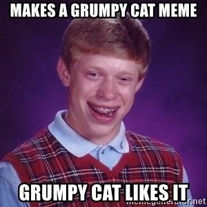 Bad Luck Brian - Makes a grumpy cat meme Grumpy cat likes it