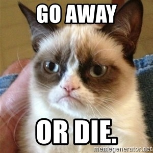 Grumpy Cat  - Go away or die.