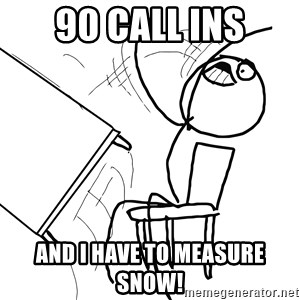 Desk Flip Rage Guy - 90 call ins And i have to measure snow!
