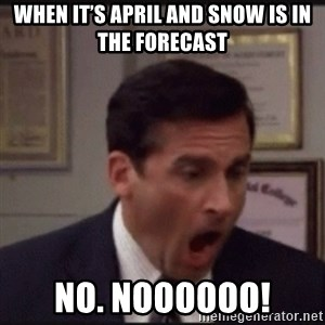 michael scott yelling NO - When it's April and snow is in the forecast No. Noooooo!