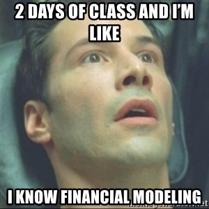i know kung fu - 2 days of class and I'm like I know financial modeling