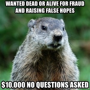 grumpy groundhog - Wanted Dead or alive for fraud and raising false hopes $10,000 no questions asked