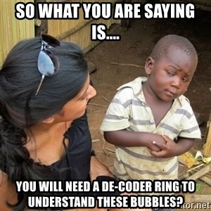 skeptical black kid - so what you are saying is.... you will need a de-coder ring to understand these bubbles?