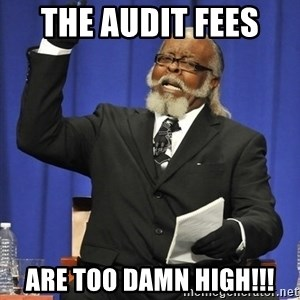 Rent Is Too Damn High - The audit fees  are too damn high!!!