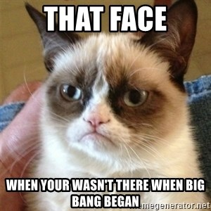 Grumpy Cat  - That face When your wasn't there when Big bang began