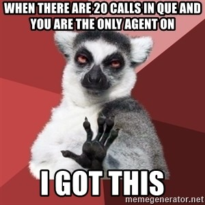 Chill Out Lemur - When there are 20 calls in Que and you are the only agent on I GOT THIS