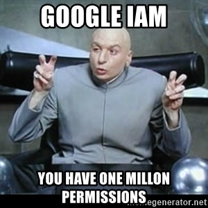 dr. evil quotation marks - Google IAM you have one millon permissions