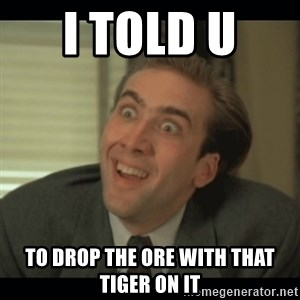 Nick Cage - i told u  to drop the ore with that tiger on it