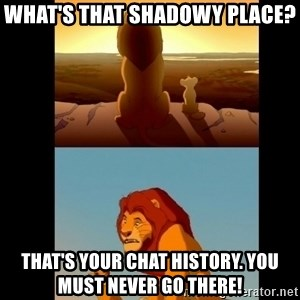 Lion King Shadowy Place - what's that shadowy place?  That's your chat history. you must never go there!