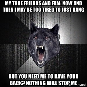 Insanity Wolf - My true friends and fam: Now and then I may be too tired to just hang But you need me to have your back? Nothing will stop me