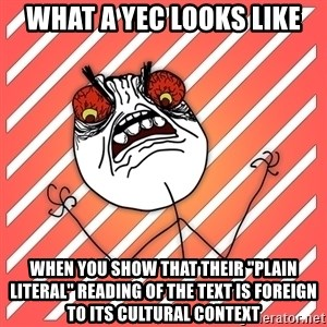 "iHate - What a YEC looks like when you show that their ""plain literal"" reading of the text is foreign to its cultural context"