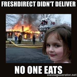burning house girl - FreshDirect didn't deliver No one eats