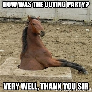 Hole Horse - How was the outing party? Very well, thank you sir