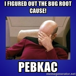 Picard facepalm  - I figured out the bug Root Cause! PEBKAC