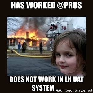 burning house girl - Has worked @PROS does not work in LH UAT system ....