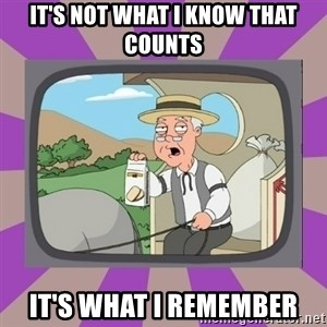 Pepperidge Farm Remembers FG - It's not what i know that counts IT'S WHAT I REMEMBER