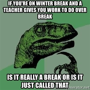 Philosoraptor - If you're on winter break and a teacher gives you work to do over break  is it really a break or is it just called that