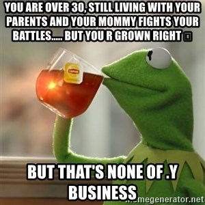Kermit The Frog Drinking Tea - You are over 30, still living with your parents and your mommy fights your battles..... But you r Grown right 😂 But that's none of .y business