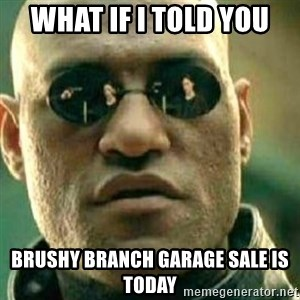 What If I Told You - What if i told you brushy branch garage sale is today