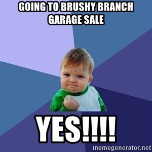 Success Kid - going to brushy branch garage sale yes!!!!