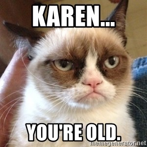 Grumpy Cat 2 - karen... you're old.