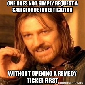 One Does Not Simply - oNE DOES NOT SIMPLY REQUEST A SALESFORCE INVESTIGATION WITHOUT OPENING A REMEDY TICKET FIRST