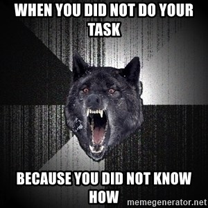xymixihb - when you did not do your task  because you did not know how