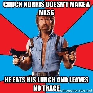 Chuck Norris  - chuck norris doesn't make a mess he eats his lunch and leaves no trace