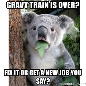 surprised koala - Gravy train is over? Fix it or get a new job you say?