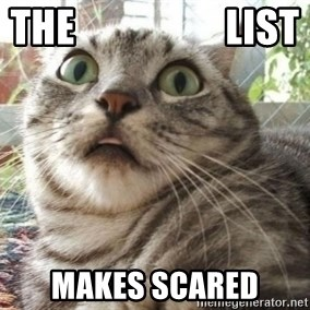scared cat - the                   list makes scared