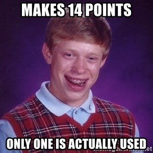 Bad Luck Brian - Makes 14 Points Only one is actually used
