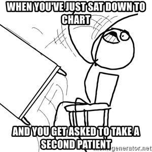 Desk Flip Rage Guy - When you've just sat down to chart and you get asked to take a second patient