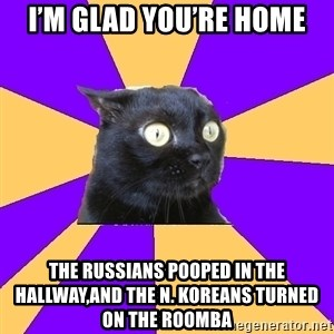 Anxiety Cat - I'm glad you're home The Russians pooped in the hallway,and the N. Koreans turned on the Roomba