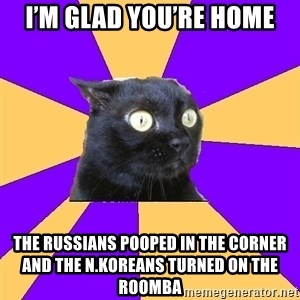 Anxiety Cat - I'm glad you're home The Russians pooped in the corner and the N.Koreans turned on the Roomba