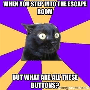 Anxiety Cat - when you step into the escape room but what are all these buttons?