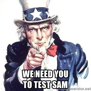 Uncle Sam - We need YOU                               to test SAM