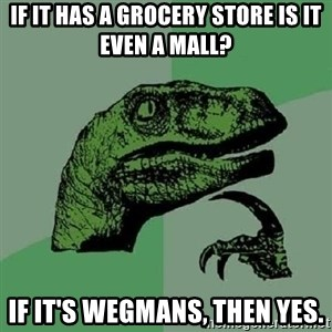 Philosoraptor - if it has a grocery store is it even a mall? if it's wegmans, then yes.