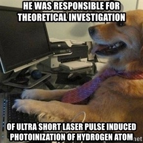 I have no idea what I'm doing - Dog with Tie - he was responsible for theoretical investigation of ultra short laser pulse induced photoinization of hydrogen atom