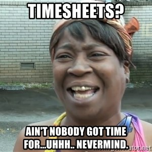 Ain`t nobody got time fot dat - Timesheets? Ain't nobody got time for...uhhh.. nevermind.