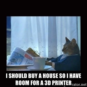 i should buy a boat cat - I should buy a house so I have room for a 3D printer