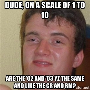 really high guy - dude, on a scale of 1 to 10 are the '02 and '03 yz the same and like the cr and rm?