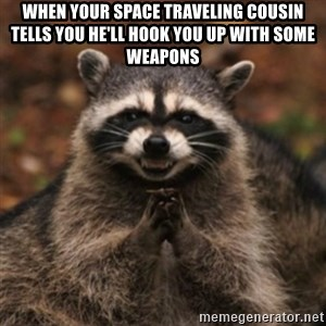 evil raccoon - When your space traveling cousin tells you he'll hook you up with some weapons