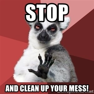 Chill Out Lemur - STOP and clean up YOUR mess!