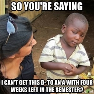Skeptical 3rd World Kid - So you're saying  I can't get this d- to an A with four weeks left in the semester?