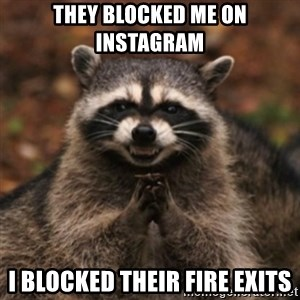 evil raccoon - They blocked me on instagram i blocked their fire exits