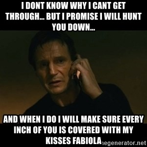 liam neeson taken - I dont know why I cant get through... but I promise I will hunt you down... And when I do I will make sure every inch of you is covered with my kisses FABIOLA