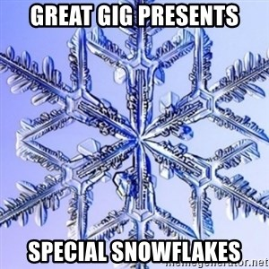 Special Snowflake meme - Great Gig Presents Special Snowflakes